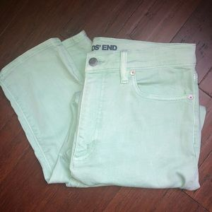 Lands' End Mint Green High Rise Slim Ankle Jean
